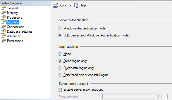 SQL Server Authentication Modes