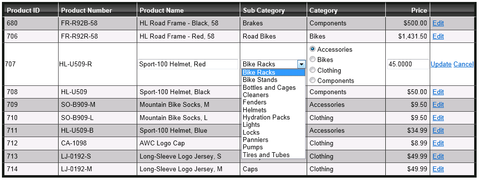 Using RadioButtonList and DropDownList in GridView Row